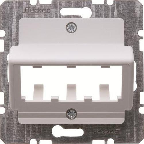 Berker 14271909 Zentralplatte für 3 MINI-COM Module Zentralplattensystem Polarweiß, Matt/Samt