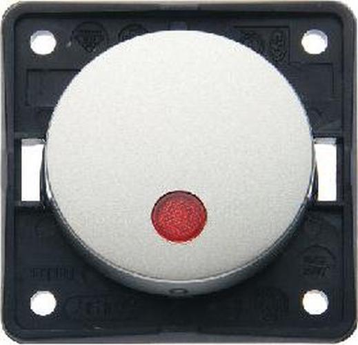 """Berker 937522524 Kontroll-Aussch. 2-polig m. Aufdruck """"0"""", roter Linse, Flow/Pure, Edelst. M."""