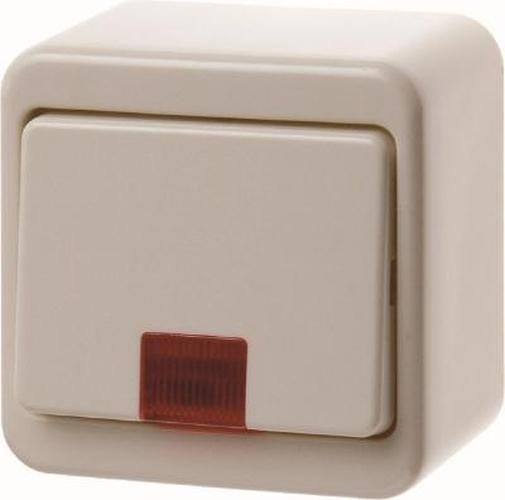 Berker 301640 Kontroll-Wippschalter mit roter Linse Aufputz Weiß