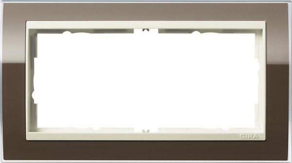 GIRA 1002761 Rahmen 2-Fach E2 ohne Mittelsteg Event-Klar Braun/ Cremeweiß-Glänzend