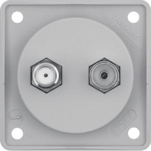 Berker 945602506 Antennen-Verbinderdose Radio/SAT, Integro Modul-Einsätze, Grau Matt