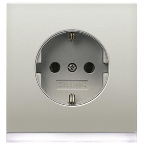 JUNG ES2520-OLEDW Steckdosen-Einsatz mit LED-Orientierungslicht Edelstahl