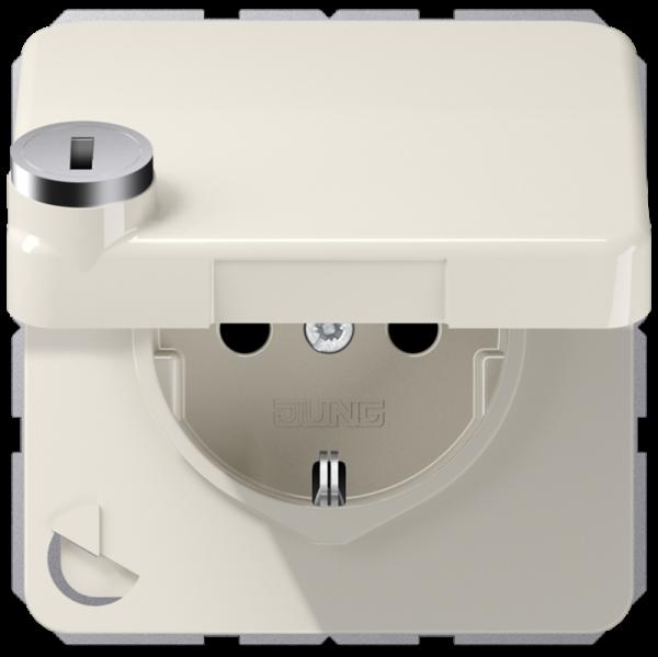 JUNG CD1520BFKLSL Steckdosen-Einsatz mit Sicherheitsschloss Cremeweiß