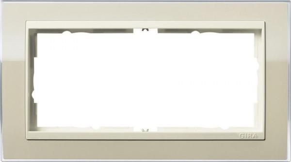 GIRA 1002771 Rahmen 2-Fach E2 ohne Mittelsteg Event-Klar Sand/ Cremeweiß-Glänzend