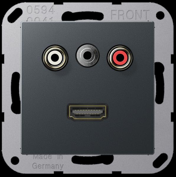 JUNG MAA1082ANM Cinch Audio-Miniklinke 3,5 mm-HDMI Anthrazit-Matt