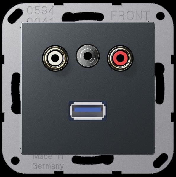 JUNG MAA1092ANM Cinch Audio-Miniklinke 3,5 mm-USB2.0 Anthrazit-Matt