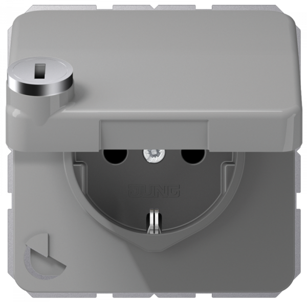 JUNG CD1520BFKLSLGR Steckdosen-Einsatz mit Sicherheitsschloss Grau