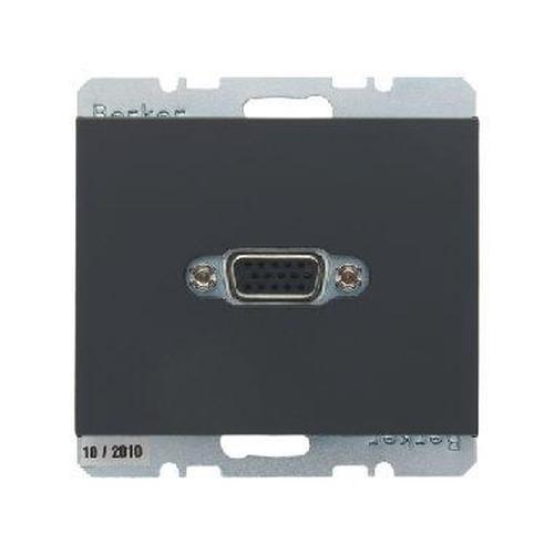 Berker 3315417006 VGA Steckdose mit Schraub-Liftklemmen K.1 Anthrazit, Matt