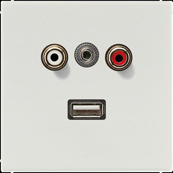 JUNG MALS1092LG Cinch Audio-Miniklinke 3,5 mm-USB2.0 Lichtgrau