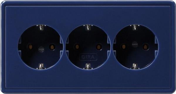 GIRA 019946 Dreifachsteckdosen-Einsatz Volle-Platte Blau