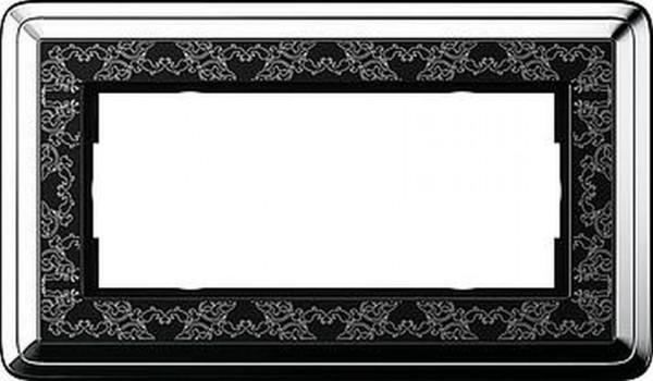 GIRA 1002682 Rahmen 2-Fach ohne Mittelsteg ClassicX Art Chrom-Schwarz