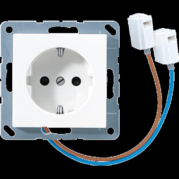 JUNG A520-OBFWWLEDW Steckdosen-Einsatz mit LED Orientierungslicht Alpinweiß