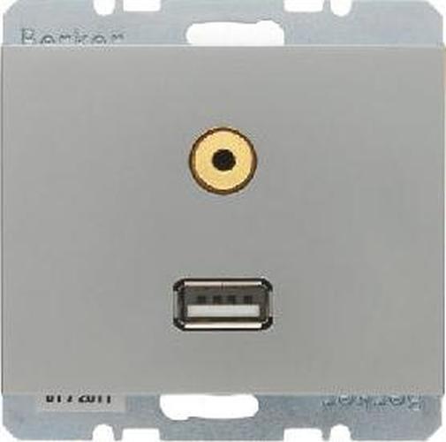Berker 3315397004 USB/3,5 mm Audio Steckdose K.5 Edelstahl, Lackiert