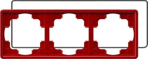 GIRA 025343 Rahmen 3-Fach S-Color mit Dichtung Rot