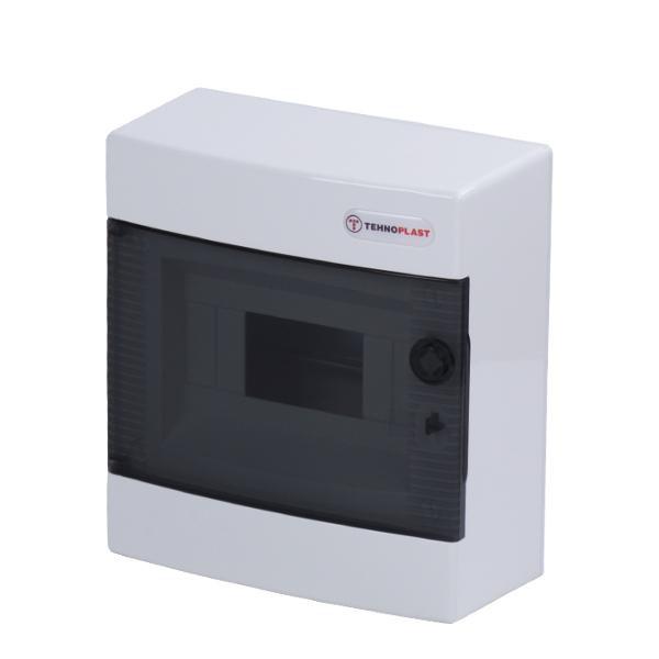 Tehnoplast N8C Aufputzverteiler 1-Reihig 8PLE Tür Transparent