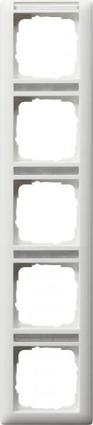 GIRA 111527 Rahmen 5-Fach mit Beschriftungsfeld Senkrecht Reinweiß-Seidenmatt