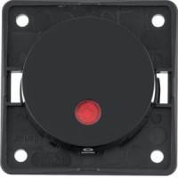 "Berker 937622510 Kontroll-Aussch. 2-polig, Aufdr. ""0"", 12 V, rote L., LED, Flow/Pure, Schw. Gl."
