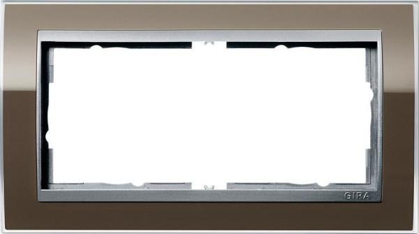 GIRA 1002766 Rahmen 2-Fach E2 ohne Mittelsteg Event-Klar Braun/ Farbe-Alu