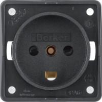 Berker 9627205 Steckd. m. Schutzk. DÄNEMARK, erh. Ber.schutz, S.-kl., Int. Einsätze, Schw. M.