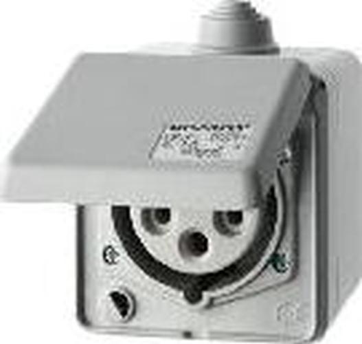 Berker 558001 CEE Steckdose 5-polig Ap 16 A mit Klappdeckel Verbindungssysteme Lichtgrau