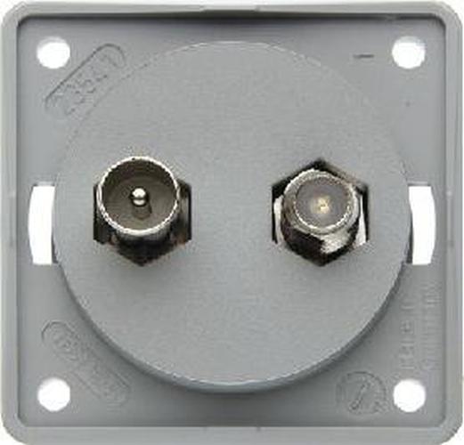 Berker 845632506 Antennen-Verbinderdose TV/SAT, Integro Modul-Einsätze, Grau Matt