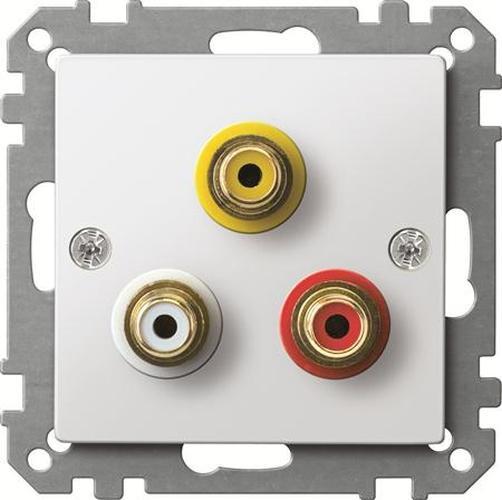 Merten MEG4351-0319 Steckdose für Audio/Video Anschluss Polarweiß-Glänzend