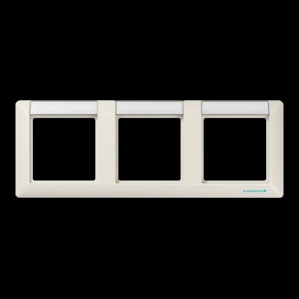 JUNG ABAS5830NA Rahmen 3-Fach mit Schriftfeld für waagerechte Kombinationen Cremeweiß