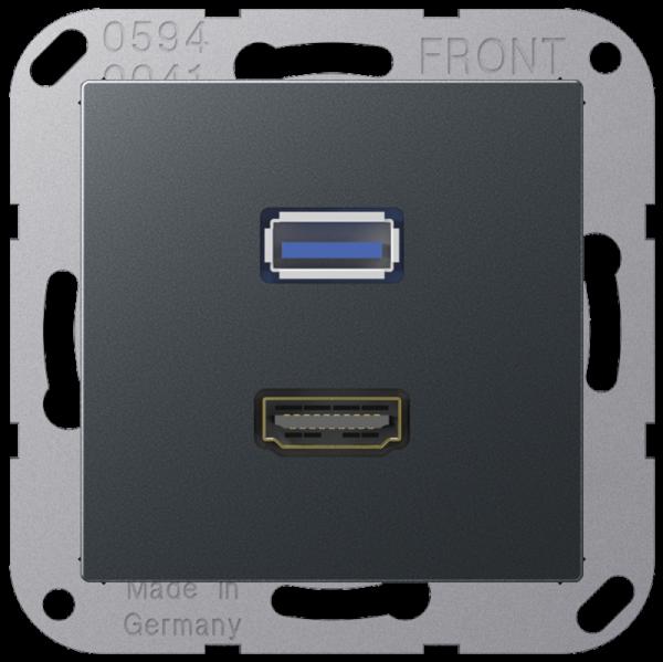 JUNG MAA1163ANM HDMI-USB2.0 Anthrazit-Matt