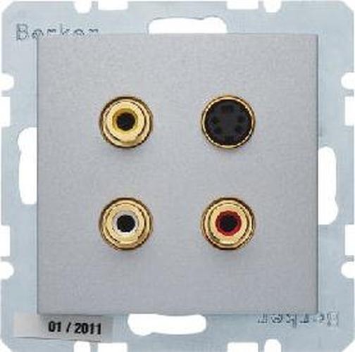 Berker 3315321404 3 x Cinch/S-Video Steckdose B.7 Alu, Matt