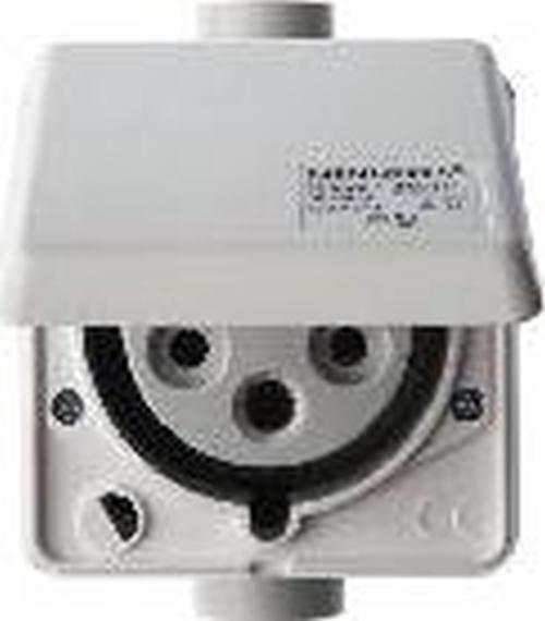 Berker 568201 CEE Steckdose 5-polig Up 32 A mit Klappdeckel Verbindungssysteme Polarweiß