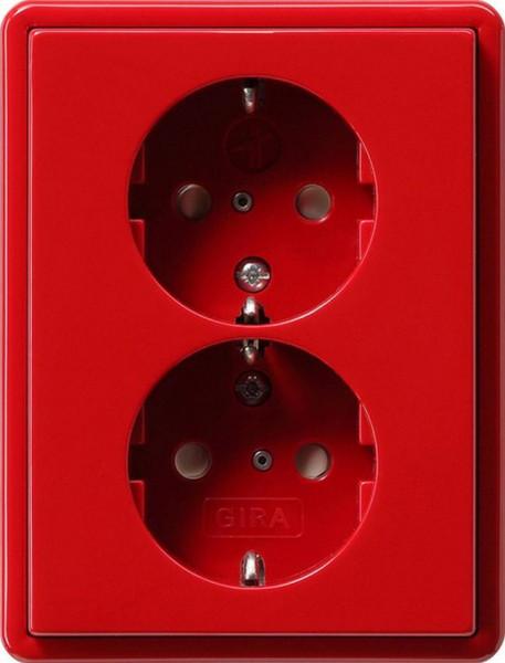 GIRA 078343 Doppel Steckdosen-Einsatz Volle-Platte mit EBS Rot